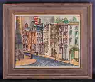 Dated 1964 French Post Impressionist Watercolor On