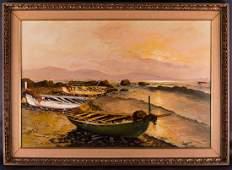 Large Vintage European Realist Original Oil Painting