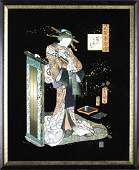 Antique Japanese Ukiyoe Woodblock Print Woman