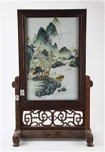 A CHINESE FAMILLE ROSE 'LANDSCAPE' CERAMIC PLAQUE,