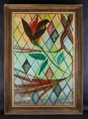 "Large Vintage Modernist Oil Painting ""Flowers"" Signed"