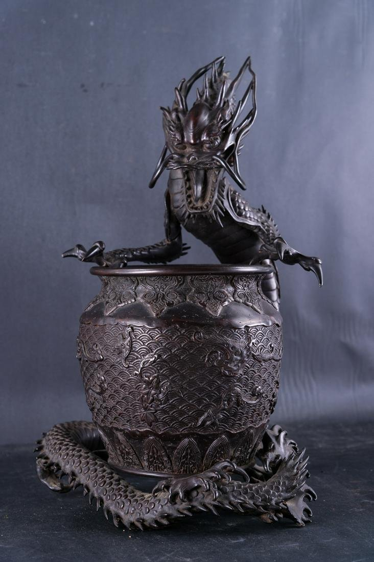 Antique Japanese Bronze Dragon Incense Burner
