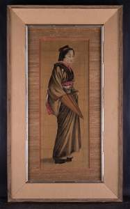 """Large Antique Japanese Watercolor On Silk """"Portrait Of"""