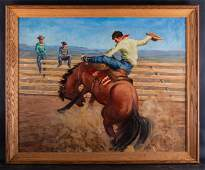 """Large Vintage Western Style Oil Painting """"Cowboy on"""