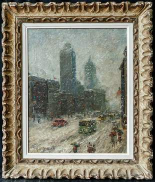 """Signed Guy Wiggins Beautiful Oil """"NYC in Winter"""""""