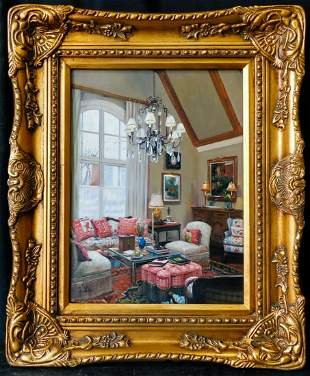 """Beautiful Oil Painting By S. H. Lee """"Room Interior"""""""