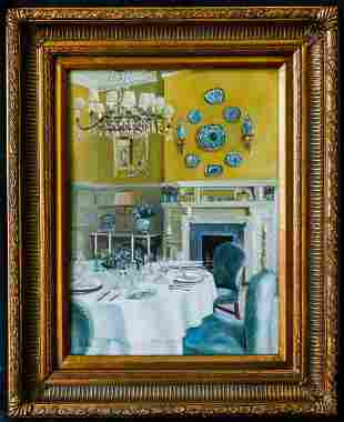 """Oil Painting By S. H. Lee """"Room Interior"""" Signed"""