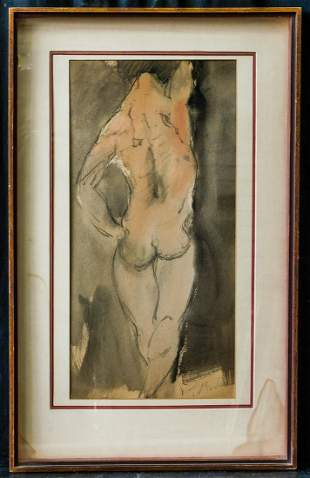 Auguste Rodin (France 1840-1917) | Watercolor/Paper