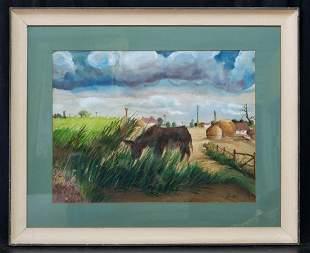 Thomas Hart Benton (1889 - 1975) Watercolor