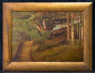 Grant Wood ( Iowa 1891 - 1942) Listed Artist Oil/Board