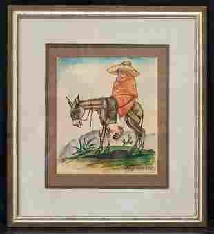Diego Rivera  (1886 - 1957) Mexican Artist Watercolor