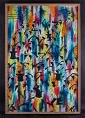 "Large Vintage Modernist Island Oil Painting ""Group Of"