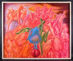 "Artist Zhengdao Zhang Surrealist Oil Painting ""Blue"