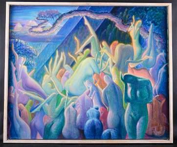 """Artist Zhengdao Zhang Surrealist Original Oil """"Peach"""
