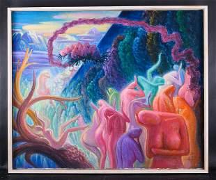 """Zhengdao Zhang Artist Surrealist Original Oil """"Peach"""