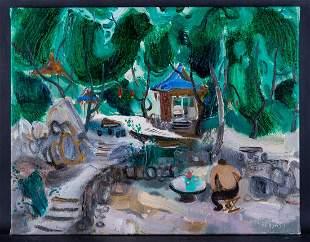 "Artist Hui Sheng ""Village"" Original Oil Painting On"