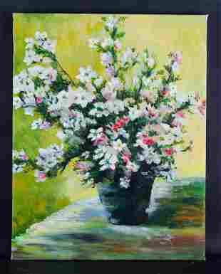 """Artist Bo Song Fine Art Original Oil Painting  """"Flower"""