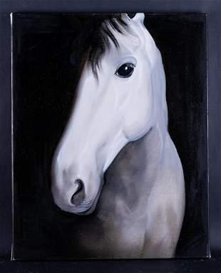 """Fine Art Original Oil By Artist Zhenpeng Zhou """"Horse"""