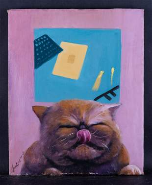"""Original Oil Painting By Artist Zhenpeng Sun """"A Cat's"""