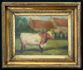 "Antique American Folk Art Oil Painting ""Portrait Of"