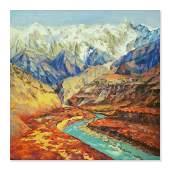 Huge Impressionist Original Oil By Artist Dejun Chen