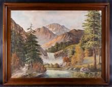 Large Vintage Realist Original Oil Painting Mountain