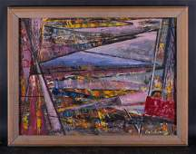 """Mid Century Abstract/Geometrist Oil Painting """"Abstract"""
