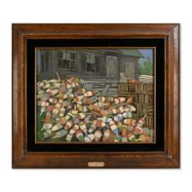 "Vintage Modernist Original Oil Painitng ""Nets and"