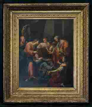 """Antique After Old Master Original Oil On Copper """"Court"""