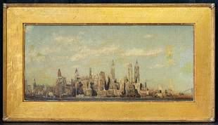 """Colin C. Cooper (1856 - 1937) CA Artist Oil """"NYC"""""""