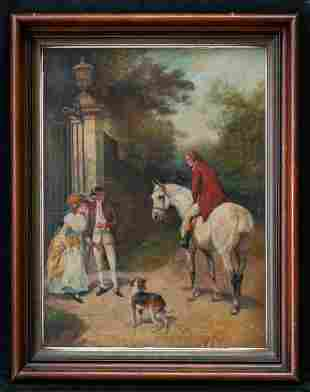 """Early 20th Century Traditional Oil Painting """"Hunter And"""