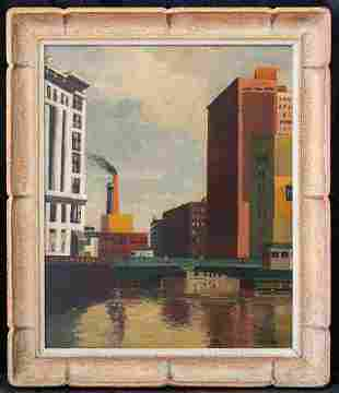 Niles Spencer (1893 - 1952) New York Artist Oil