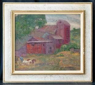 Grant Wood (1891 - 1942) Iowa Artist Oil