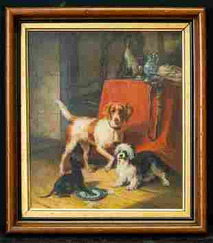 """Early 20th Century American Original Oil Painting """"Pet"""