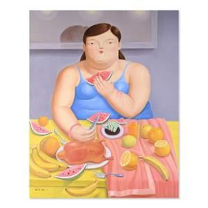 """Large Pop Art Original Oil Painting """"Fat Lady"""""""