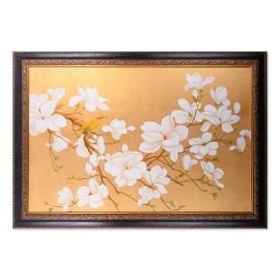 """Huge Oriental Original Oil Painting """"Bird And Flowers"""