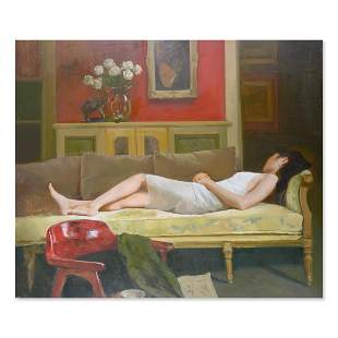 """Large Realist Original Oil Painting """"Reclining Girl"""""""