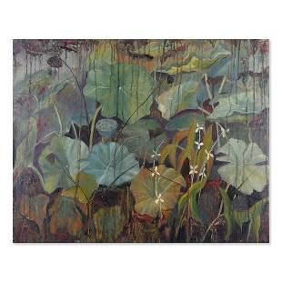 """Large Modernist Original Oil """"Lotus Leaves"""""""