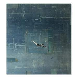 """Tom Judd Oil with collage on panel """"Diving Figure #5"""""""