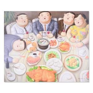 """Large Surrealist Original Oil Painting """"Feast"""""""