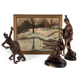 """Early 20th Century Bronze Sculpture """"Gladiator Fighting"""