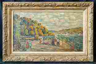 Oil Painting On Canvas Board Signed Prendergast