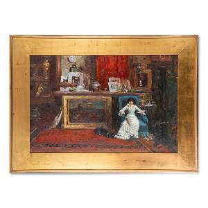 "Large Early 20th Century Impressionist Oil ""Lady In The"