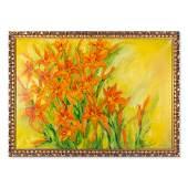 Large Modernist Original Oil Painting Orange Flowers