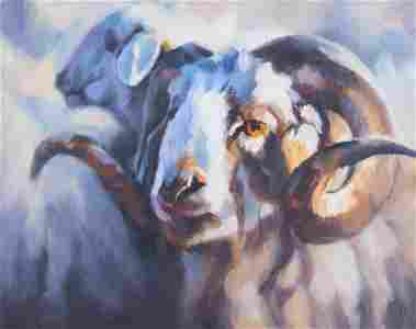 "Original Modernist Oil Painting ""Goat"""