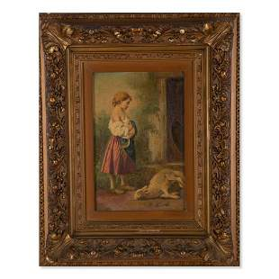 Young girl with sheep