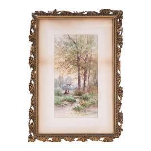 "Carl Weber US/European Artist Watercolor ""Spring"""