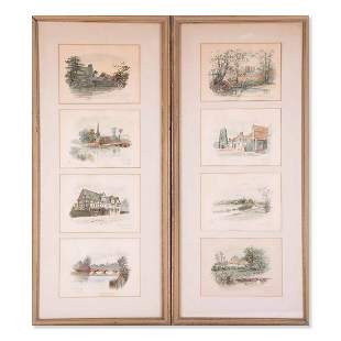"A Pair Of Antique Original Watercolor On Paper ""Places"