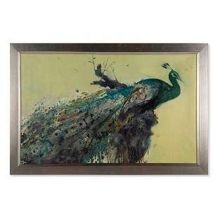"""Large Contemporary Original Oil Painting """"Peacock"""""""