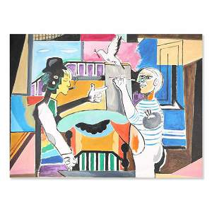 """Large Surrealist Oil On Canvas """"Picasso With Me"""""""
